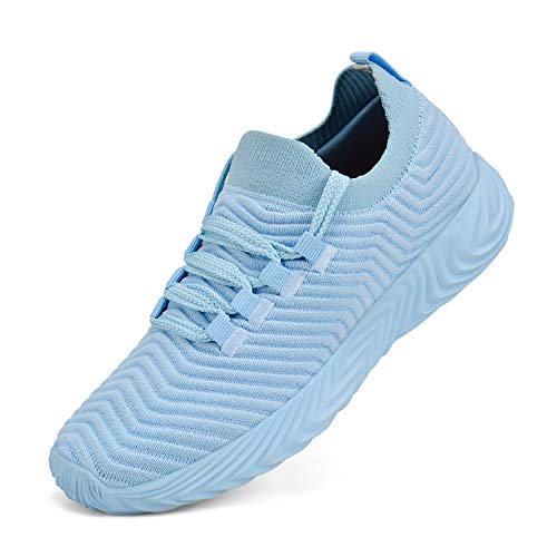 Feetmat Womens Sneakers Slip On Walking Tennis Running Shoes Ultra Lightweight Air Knitted Breathable Mesh Fashion Athletic Gym Sports Non Slip Casual Shoes Light Blue 8.5 M US