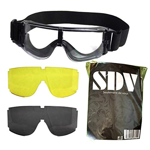 【SDV】サバゲーゴーグル曇り止め3色レンズセットX800タイプクティカルゴーグル迷彩ケースレンズクリーナー付