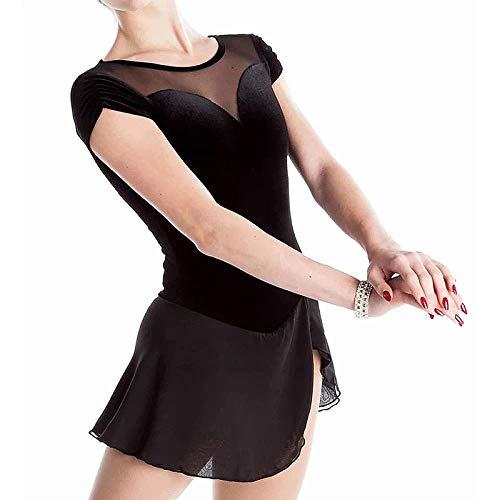 Vestido de patinaje artstico con diamantes de imitacin para mujer, color negro, M