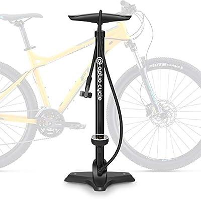 Optio Cycle Fahrradpumpe für alle Ventile Luftpumpe für Fahrrad Standpumpe mit Großem Manometer bis 11 Bar/ 160 PSI Fahrradluftpumpe Französisches Ventil SV AV DV Rennrad E-Bike Mountainbike Zubehör