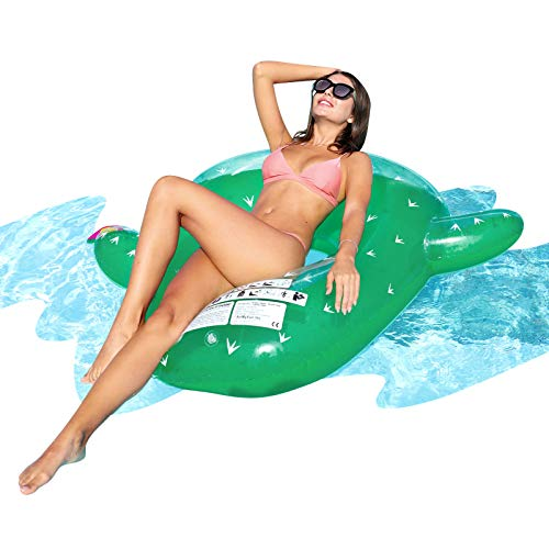 AirMyFun Inflatable Cactus Giant Pool Float, Plants Style Water Rafts Inflatable Inner Tube Toys, Brightly Green Rubber Pool Float, Great for Adults & Kids Summer Fun and Summer Pool Parties