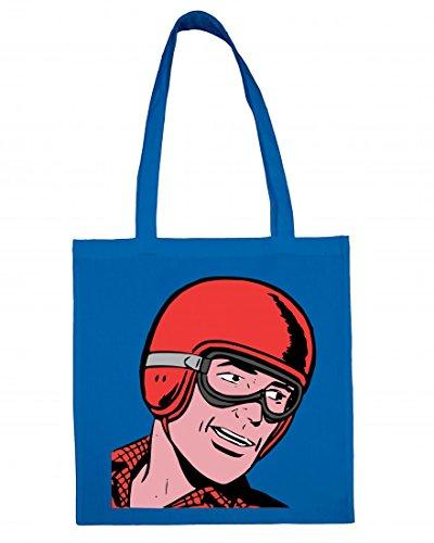 Jutebeutel Comic- Treiber- Brille- Helm- Mann- RENNEN- Retro Baumwolltasche Einkaufstasche