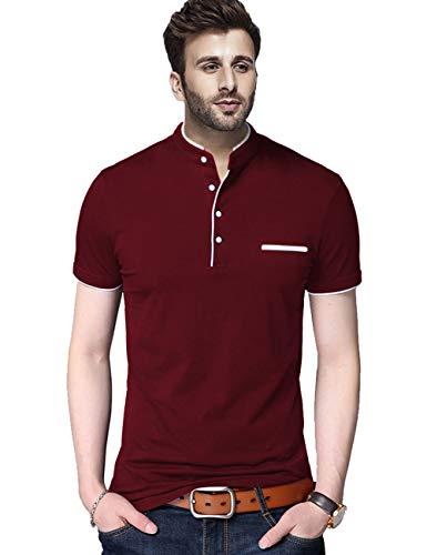 BLIVE Regular fit Solid Men's Henley Neck Half Sleeve Cotton Blend T Shirts (Maroon, Large)