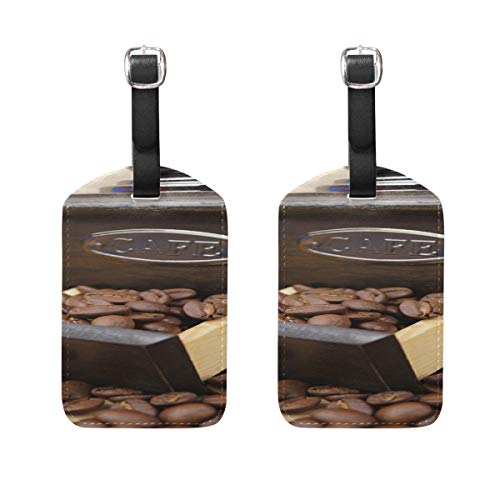 Coffee Coffee Mill Whole Bean Coffee Caffeine Grind Pattern Pu Leather Id Tags Business Card Holder Labels Baggage Suitcase Luggage Tags Travel Accessories