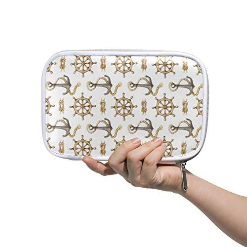 LUPINZ Make-up-Tasche für Damen, Boot, Anker, Ruder, Federmäppchen, Make-up-Pinsel-Tasche, Reiseset, Organizer, Kosmetiktasche