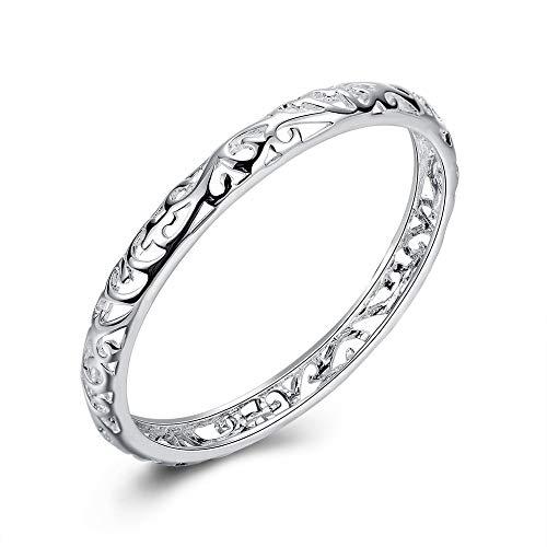nobrand 925 Silber Armbänder Frauen Armreifen Silber geschlossen Hohlblumen Armband Damen Perlen Schmuck