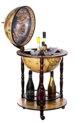 Birendy Elegante Carrello da Bar, Bar da casa, Bar CG42001NN02 con colonne in Legno di eucalipto Massiccio, Carrello da Bar a Globo Aperto Alto 103 cm