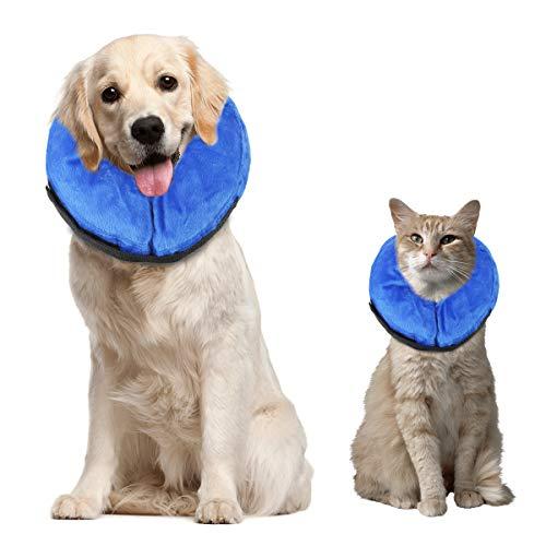 Soapow Collar inflable para mascotas, suave y cómodo cuello almohada perro gato heridas curación protección anti mordedura collar de seguridad