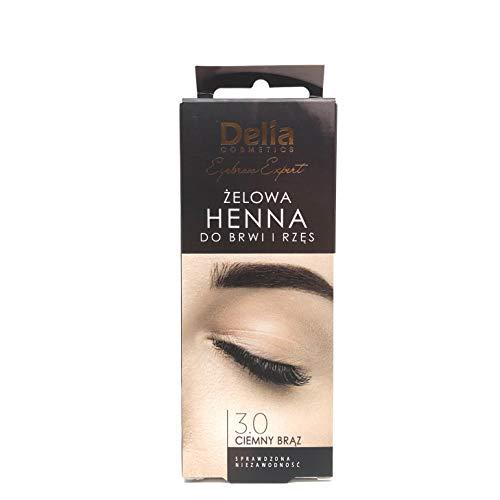 Tinte profesionales para cejas, Duracion hasta 14 días, 5 veces de aplicaciones, 15 ml HENNA KIT Negro/Marrón/Gris Activador incluido (Marrón Oscuro)