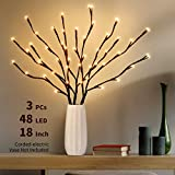 IPHUNGO 3PCS 18 Inch Lighted Tree Willow Branches Battery Operated - 48 LED Brown Lighted Twig Branches for Indoor Outdoor Christmas Party Wedding Home Decoration