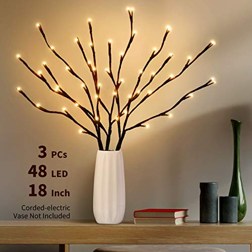 IPHUNGO 3PCS 18 Inch Lighted Tree Willow Branches Battery Operated - 48 LED Brown Lighted Twig Branches for Christmas Wedding Party Home Decoration Indoor Outdoor