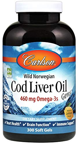 Carlson - Cod Liver Oil, 460 mg Omega-3s + Vitamins A & D3, Wild-Caught Norwegian Arctic Cod-Liver Oil, Sustainably Sourced Nordic Fish Oil Capsules, Lemon, 300 Softgels