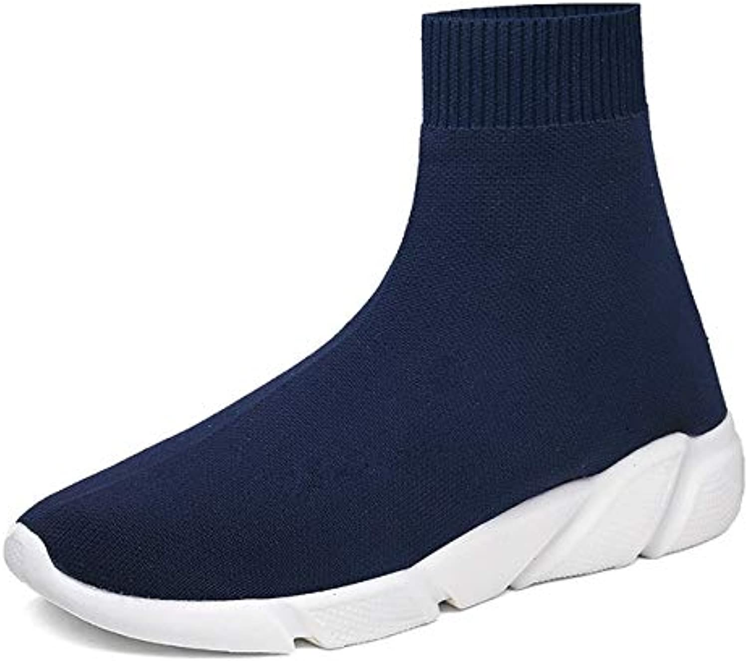 shoes for Men or Women hyx Knit Upper Breathable Sport Sock Boots Chunky Sneakers High Top Running shoes for Men Women, shoes Size 46 (color   bluee)