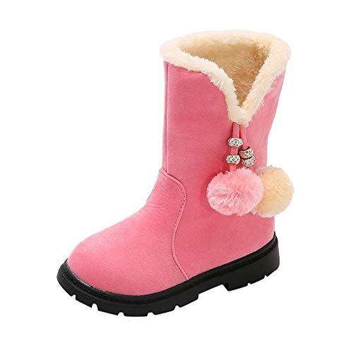 Doublehero Kinder Mädchen Schneeschuhe Winterstiefel Einfarbig Stiefel Plüschschuhe Klassisch Krawatte Schlüpfen Beiläufig Schuhe Winter Groß Wasserdicht Warm Turnschuhe (27 EU, Rosa)