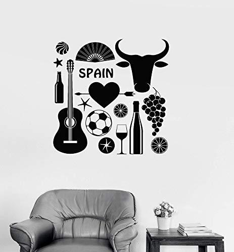 ASFGA Vinyl Wandaufkleber Spanien Spanien Flamenco Stierkampf Alkohol Europäisches Interieur Wohnzimmer Schlafzimmer Dekoration 42 * 42cm
