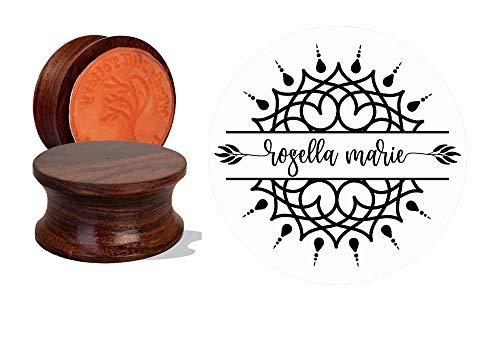IMPACT2PRINT Mandala diseño personalizado madera y acrílico montado sello de goma sello personalizado sellos personalizados DIY Idea de regalo
