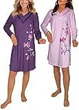 Consult-Tex Damen Langarm Nachthemd Reine Baumwolle 2 Stück Packung DW512 (40/42, rosa/Pflaume)
