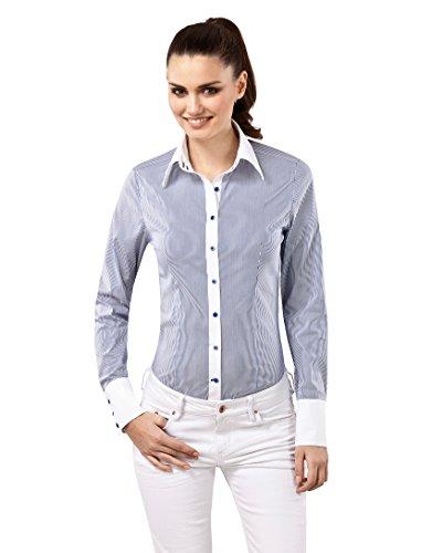 Vincenzo Boretti Damen Bluse gestreift besonders tailliert mit Stretch Langarm Hemdbluse elegant festlich Kent-Kragen auch für Business und unter Pullover weiß/dunkelblau 36