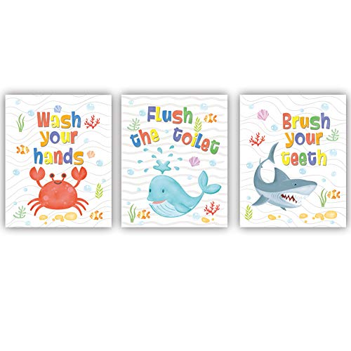 Colorful Sea Life Themed Bathroom Art Print,Cartoon Underwater Toilet Quotes Wall Art,Set Of 3(8X10,Unframed) Funny Wash Flush Brush Canvas Painting Poster For Children Bathroom,Toilet Decor