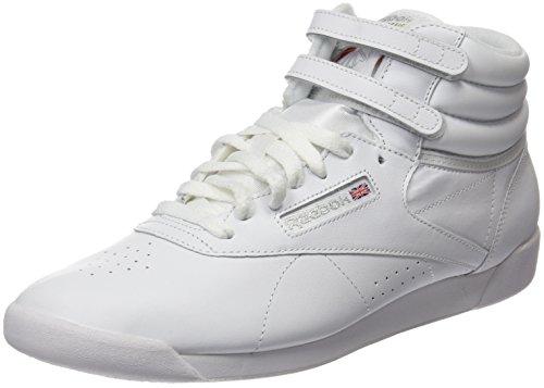 Reebok Women's Freestyle Hi Sneaker, White/Silver 2, 8