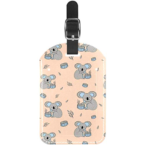 Luggage Tags Cute Bear Koala Seamless Pattern. Leather Travel Suitcase Labels 1 Packs