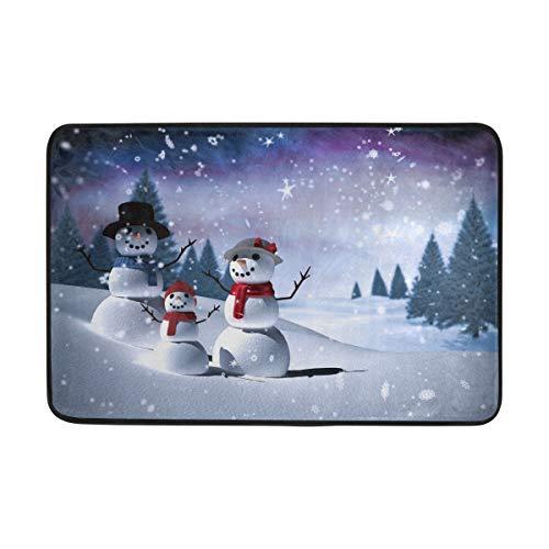 Snowman Aurora Night Sky Bath Mat Doormat for Entrance, Tree Winter Indoor...