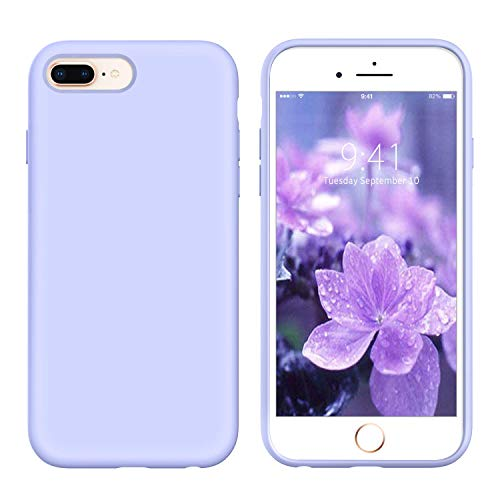 YINLAI iPhone 8 Plus Case iPhone 7 Plus Case Liquid Silicone Soft Rubber Cover Slim Shockproof Protective Grip Girls Women Phone Cases for iPhone 8 Plus/7 Plus,Purple/Pastel Lavender