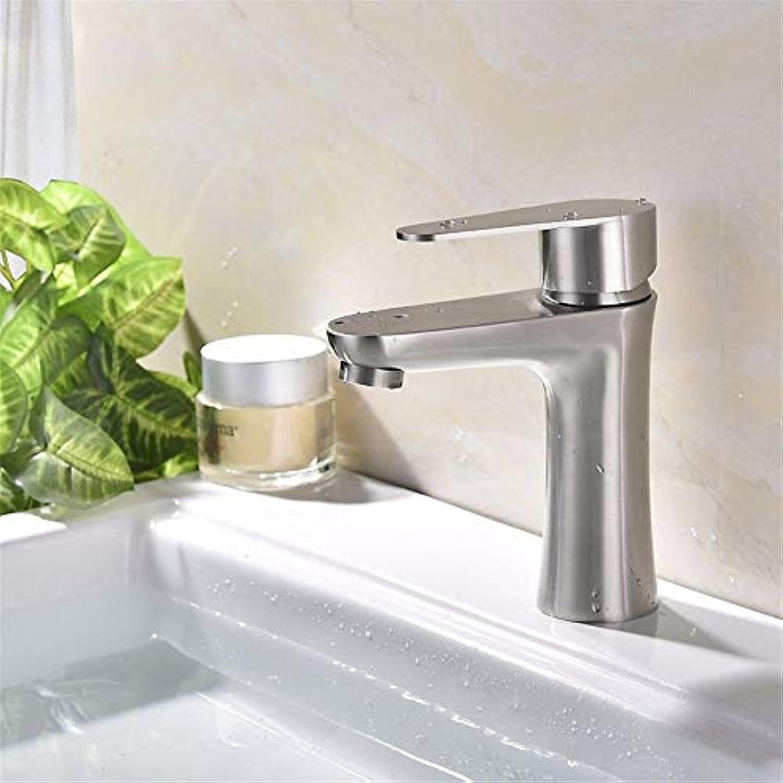 NANIH Home Waschbecken-Mischbatterie Badezimmer-Küchen-Becken-Hahn auslaufsicher Wasser sparen 304 Edelstahlfarbe Sprühfarbe Platten heie und kalte Platten drehbar zu