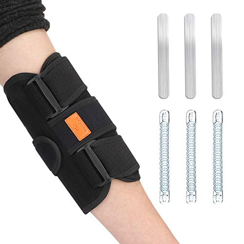 Ellenbogenbandage, HailiCare Verstellbare Ellenbogenstütze mit sechs abnehmbaren Motor Federschienen, atmungsaktiver Ellenbogen Riemen
