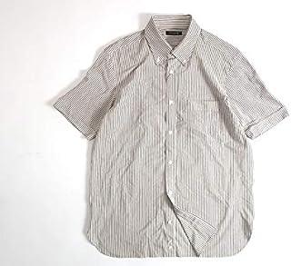 [マッキントッシュロンドン] 鹿の子 ストライプ ボタンダウン シャツ 半袖 白×茶