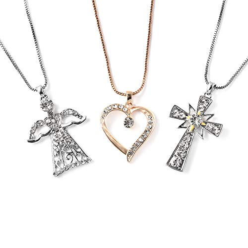 TJC Angel, Heart and Cross Necklace for Womens Size 20 Inches Made with Swarovski Crystal