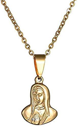 YOUZYHG co.,ltd Virgin Charm Collares Pendientes para Mujer Regalo de cumpleaños para joyería católica Acero Inoxidable 316l Oro