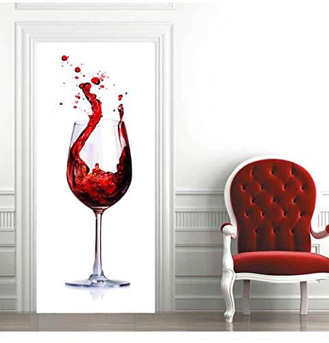 LOSAYM Etiqueta de la Puerta DIY 3D Pegatinas de Puerta de Vidrio de Vino Tinto PVC Autoadhesivo Papel Tapiz Papel Tapiz decoración del hogar simulación cartel-77cm(W)*200cm(H)