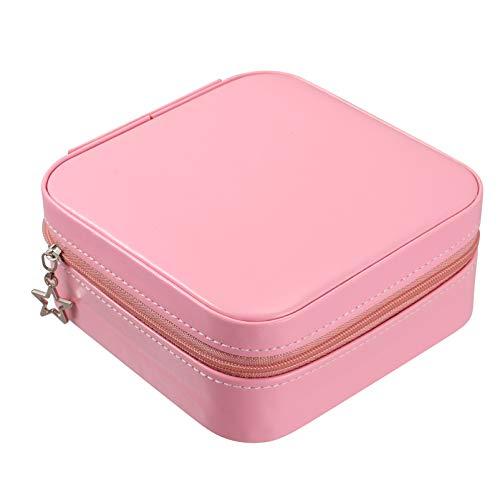Minkissy Caja de Joyería de Viaje Portable Anillo Pendiente Collar Almacenamiento Mini Caja con Espejo Viaje de Negocios Sostenedor de La Joyería para Las Mujeres Damas Rosa