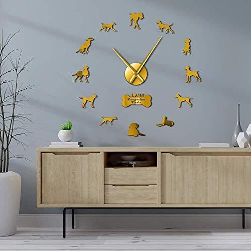 DIY wandklok wijzer Vizsla hond muur opknoping met verschillende poses muurschildering stickers grote frameloze moderne muur horloge 37inch goud