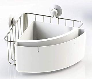Panier de douche d'angle en acier inoxydable et ABS - 2 compartiments de rangement / 2 ventouses incluses - Métal/blanc - ...