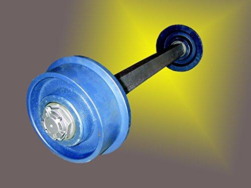 Radsatz mit Stahlachse 50x50mm und 2 Spurkranzrädern aus Grauguss, Spurweite 1100mm, Rollen ø 200mm beidseitig kugelgelagert, blau lackiert , Flange wheels, für Schienen.