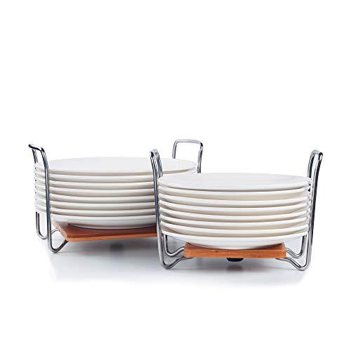 E-ROOM TREND - Organizador de Platos de tamaño Ajustable de 15 a 33 cm, Estante para Platos de bambú con Asas fáciles de Transportar SS304 para cajones de Cocina, armarios, estantes (A018)