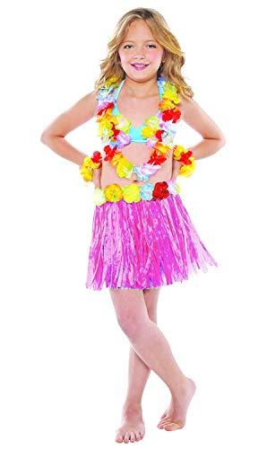 5/7 jaar - accessoire voor kostuumkostuum - vermomming - carnaval - halloween - theater - hawaiiaanse rok - bloemen - meisje - roze