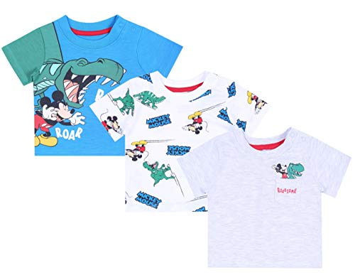 Tee-Shirt Blanc et Bleu Mickey x3 Disney 18-24 Mois