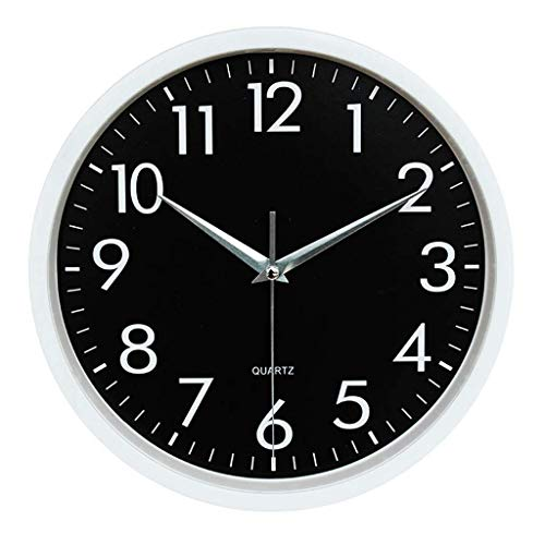 Everyday home Horloge murale, silencieuse et non cinglante - Qualité Quartz à piles ronde Facile à lire Horloge maison/bureau/école (Couleur : Blanc, taille : 12 pouces)
