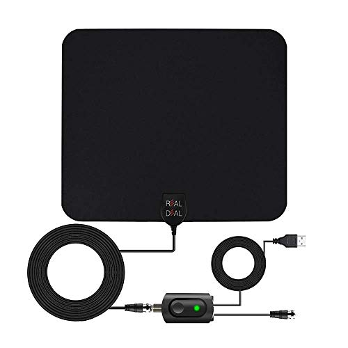 [2020 Latest] Amplified Digital HD TV Antenna Long 65-120 Miles Range- Indoor Powerful Amplifier Support 4K 1080P UHF VHF Freeview HDTV Channels- USB Powered -18ft Cord