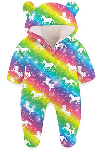 Baby Footed Rompers for Girls 0-3 Months Newborns Rianbow Striped Fleece Snowsuit Funny White Horse Animal Graphic Bodysuits Toddlers Kawaii Cartoon Bear Winter Party Gifts Clothes