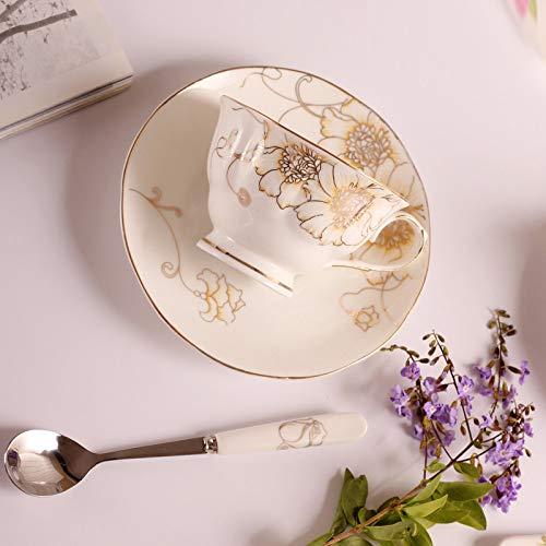 Mok zwarte thee, Bone China koffiemok elegante Engelse middagsteen kop thee koffie kopje lepel edele chrysant eenvoudige vorm