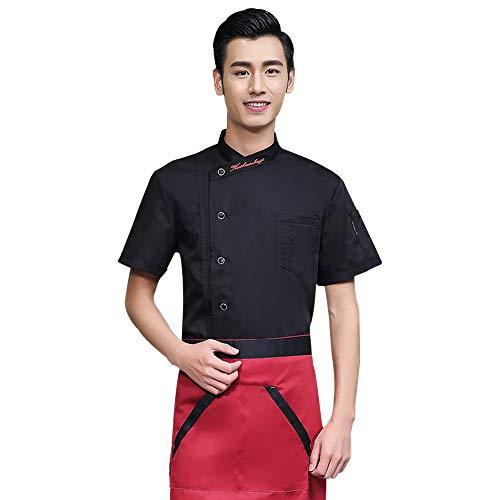 XFentech Kurzarm Koch Uniformen Unisex - Küche Koch Mantel Uniformen Kellner Arbeit Kleidung Kurzen Ärmeln Jacken, Schwarz, EU M = Tag L