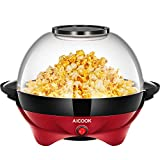Popcorn Popper, AICOOK Electric Hot Oil Popcorn Popper Machine, Popcorn Maker with Stirring