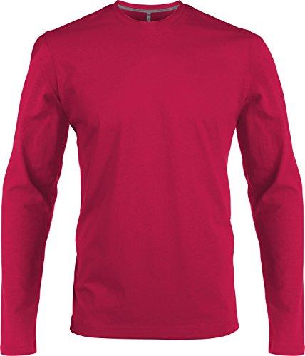 Kariban T-Shirt à Manches Longues Col Rond T-Shirt, Facile körperbetont,Fuchsia,S