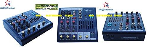 Mezclador de audio profesional 4canales Ultra Slim con USB + ecualizador y Phantom