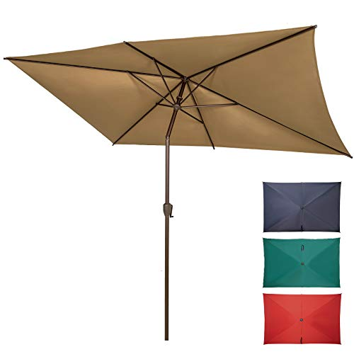 Ogrmar 6.5x10ft Patio Umbrella Rectangular Outdoor Table Umbrella with Crank & Push Button Tilt for Terrace, Backyard, Garden, Courtyard, Swimming Pool, Lawn (Tan)