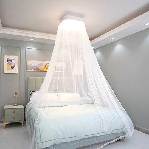 Plafondlamp met romantische punt, muggennet, dimbaar, met afstandsbediening voor slaapkamer kinderkamer, wit